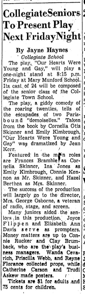 """Collegiate Seniors To Present Play Next Friday Night"" in unidentified paper, February 1959"