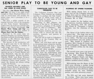 """Senior Play To Be Young and Gay,"" from The Match, February 1959"