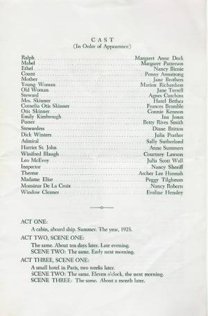 """Our Hearts Were Young And Gay,"" 1959 Senior Play, Program, p. 3"
