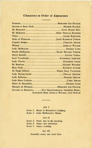 Monsieur Beaucarie, Senior Play Program, 1932