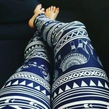 blue elephant pattern tribal leggings