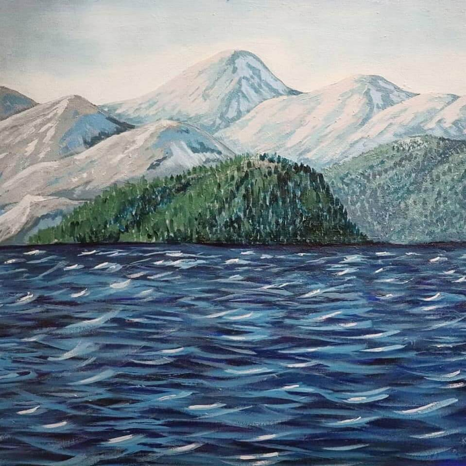 acrylic ocean mountains landscape painting