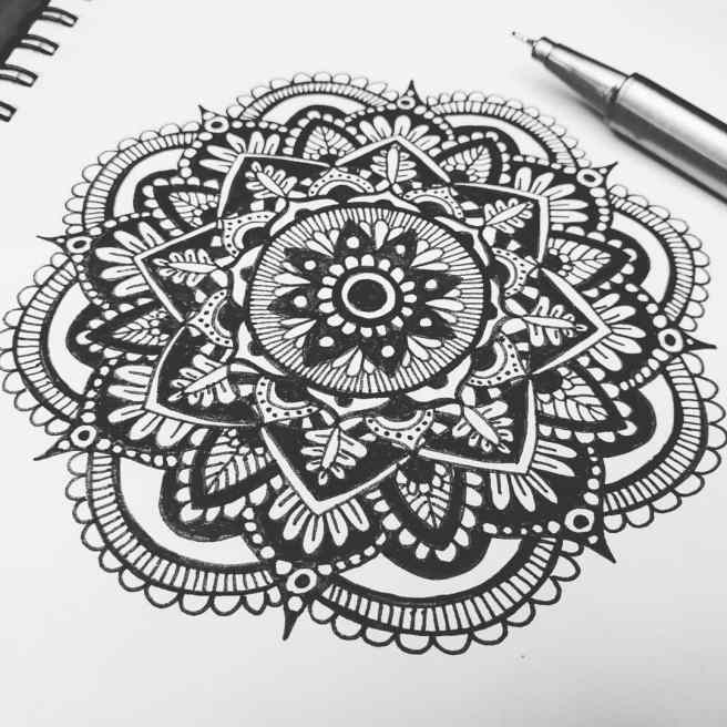 black and white mandala art