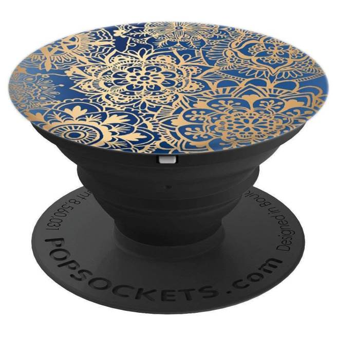 blue and gold mandala pattern popsocket amazon