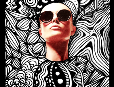 ACEO zentangle womans face sunglasses
