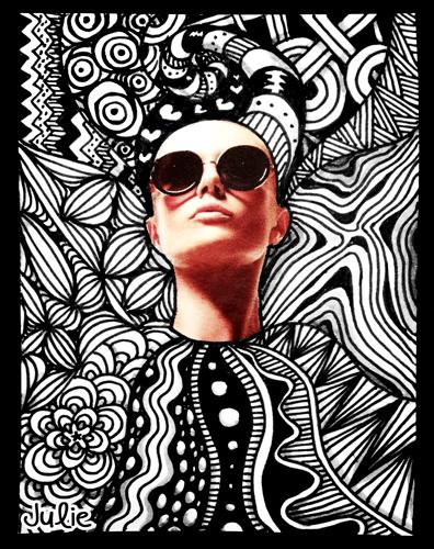 Fashion sunglasses zentangle art