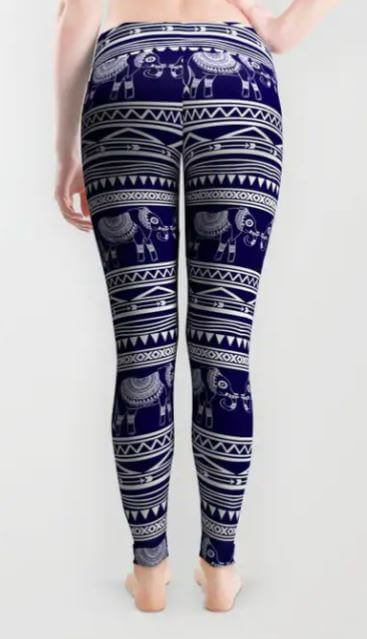 navy blue elephant tribal pattern leggnigs
