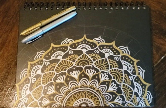 mandala drawing on sketchbook gold and silver pens youtube video
