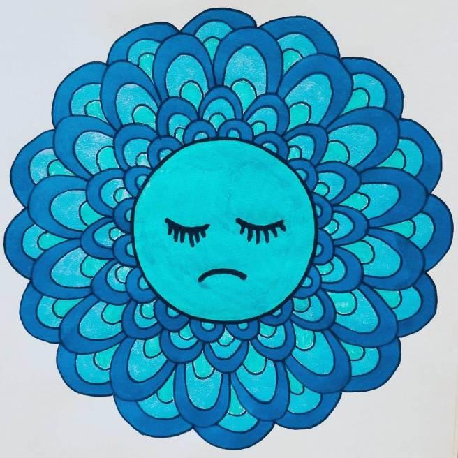 melancholy sad emoji mandala
