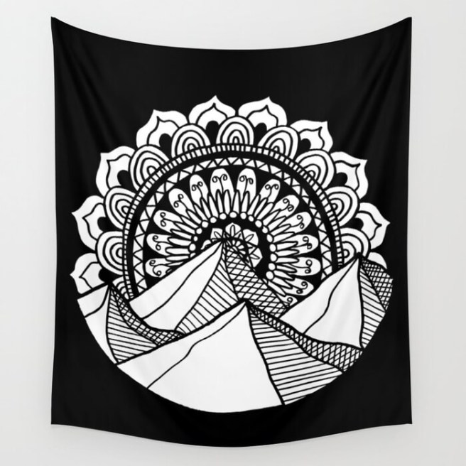 mountain mandala drawing wall tapestry