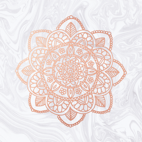 pink mandala white design