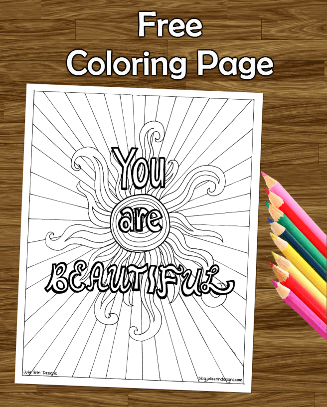 inspirational quote you are beautiful adult coloring colouring page
