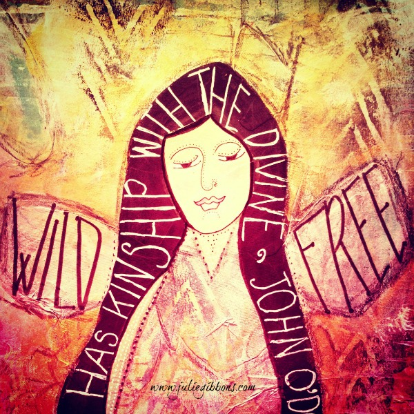 Kinship with the Divine mixed media painting