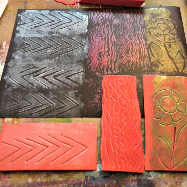 block printing with fun foam