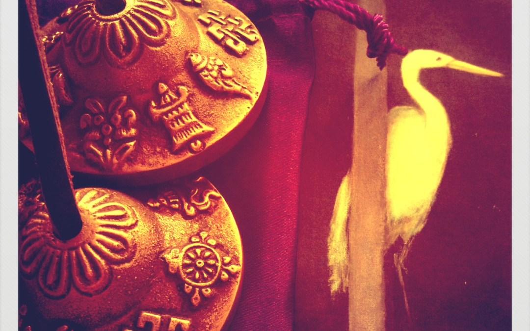 tibetan bells with crane image