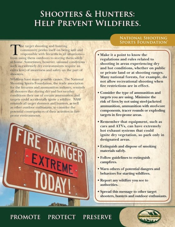 NSSF's Fire Warning Flyer