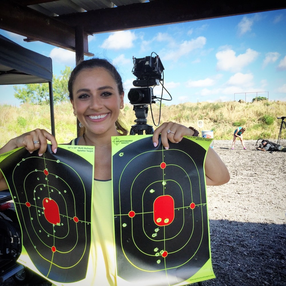 Jasmine proudly shows off her Love at First Shot targets after training with Julie