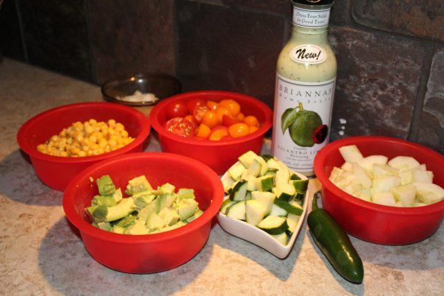 Ingredients for Easy Veggie Cilantro Lime Salad