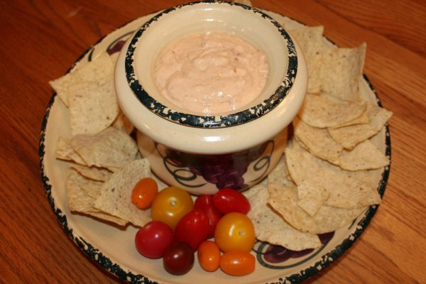 Easy Four Ingredient Mexican Hummus Dip with Lime toritlla chips and tomatoes