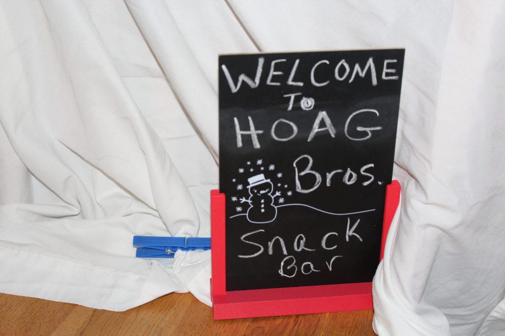 Chalkboard Fort sign for Hoag Bros. snack bar fort
