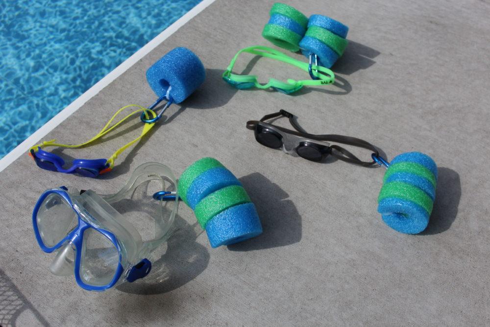 DIY Pool noodle goggle float holders. swimming pool hack. kids. swim. DIY craft easy to make. Kids craft. summer craft.