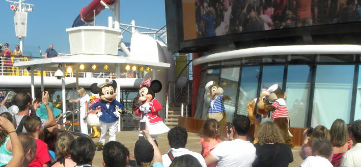 Bon Voyage party Characters on stage