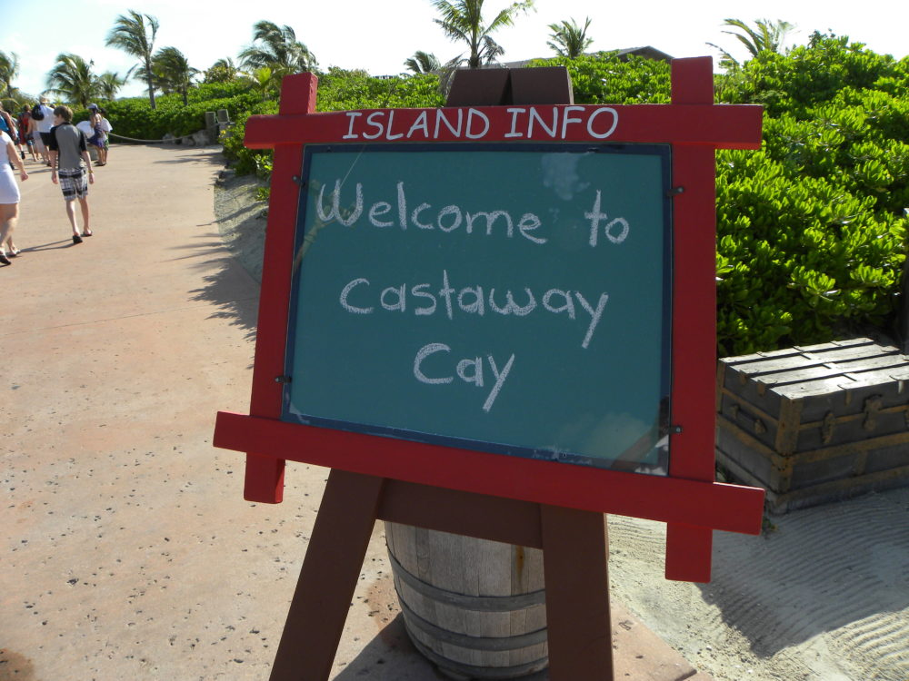 Welcome sign to Castaway Cay