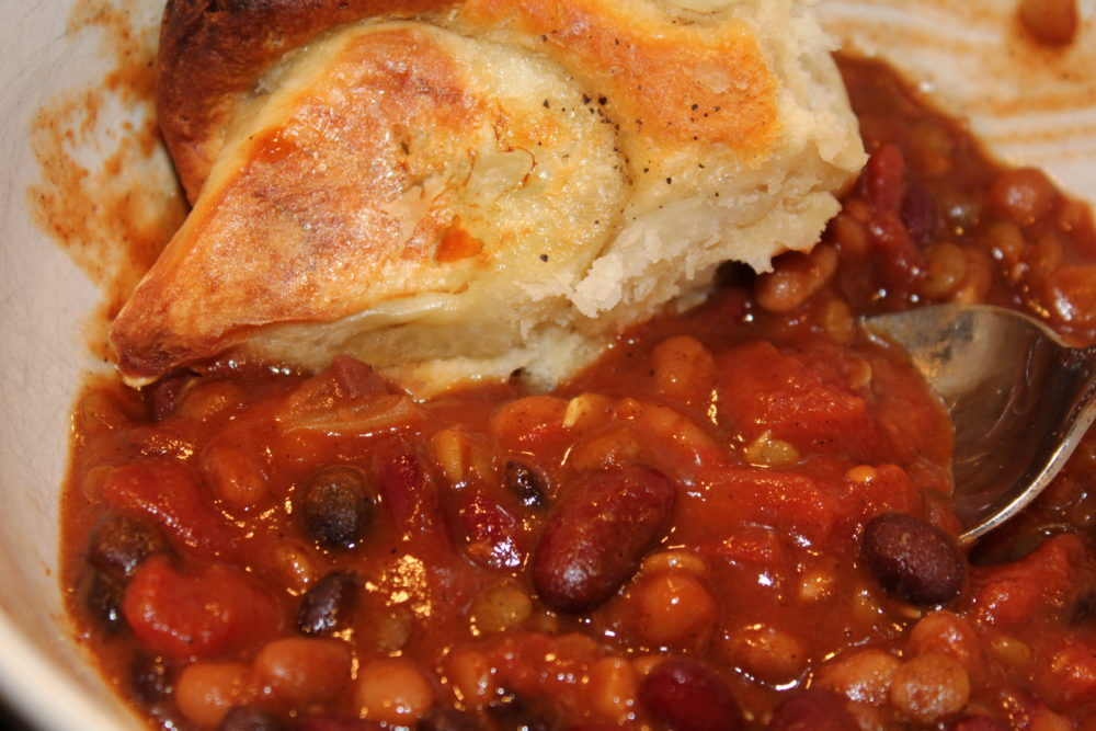 Easy Sweet Bean Crockpot Vegetarian Chili with Potato Biscuit-vegetarian meal-easy quick prep recipe for busy families-Easy Sweet Bean Crockpot Vegetarian Chili-crockpot recipes easy-vegetarian recipes healthy-vegetarian meals-vegetarian meal prep-vegetarian recipes easy-vegetarian recipes dinner-meatless meals-meatless Monday-meatless dinners-meatless meals healthy-chili recipe-chili crockpot-chili recipe crockpot-bean chilis recipe-bean chili crockpot-bean chili vegetarian-bean chili recipe vegetarian-hybrid recipe-bean recipes-beans-vegan recipes-football party food-fall food @juliehoagwriter
