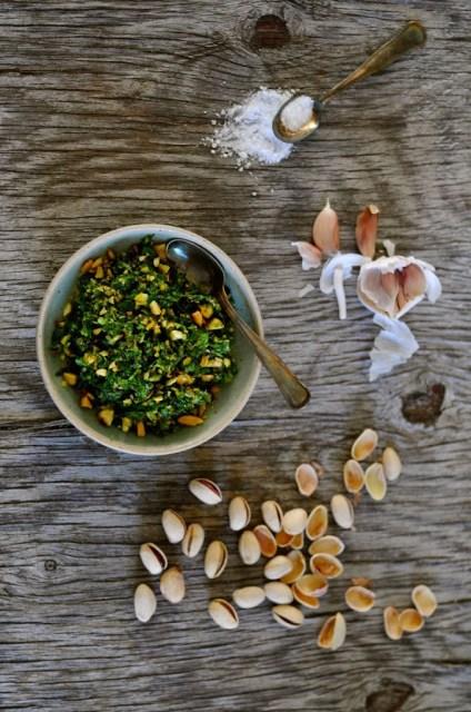 myntepesto med pistacienødder