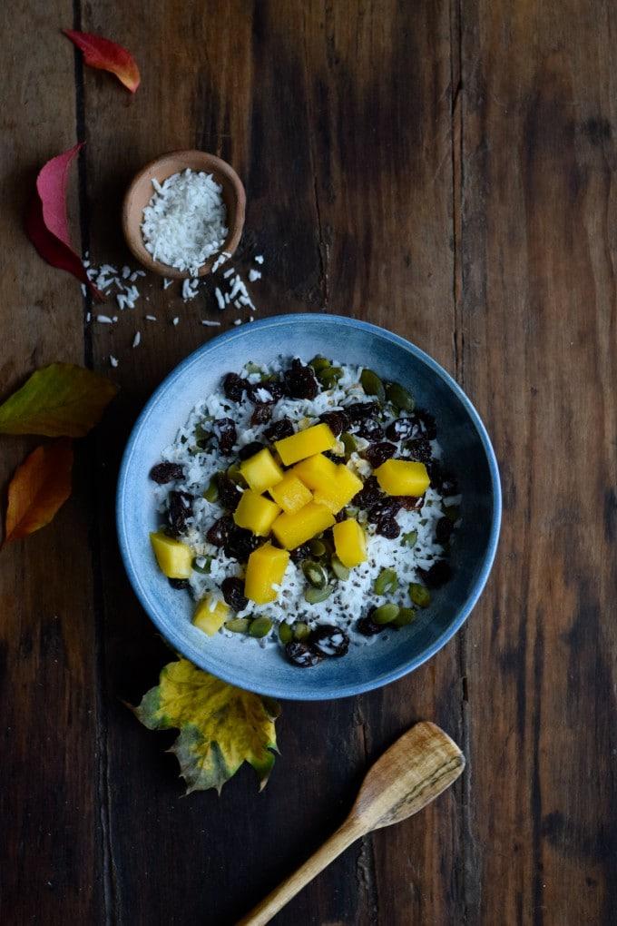 morgenmad med havregryn og kokosmælk