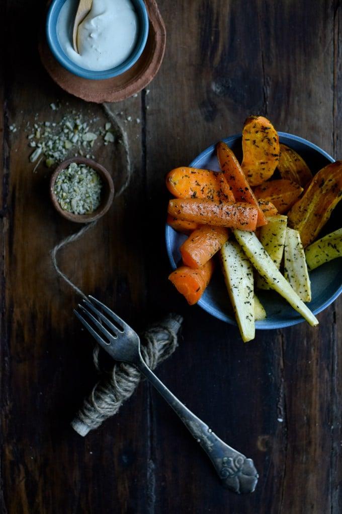 Rodfrugter i ovn med rørt feta