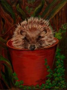Potted Hedgehog   Oil on Canvas by Julie Lovelock