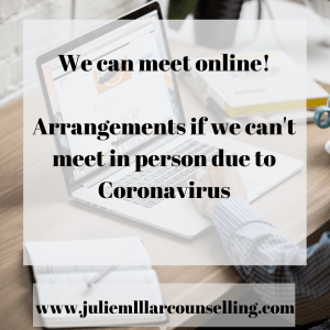 graphic showing a laptop in the background with foreground text concerning moving in person counselling online because of coronavirus