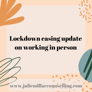 Lockdown easing update on working in person in a pink square block with random shapes