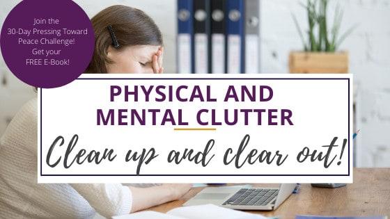 a woman suffering from mental clutter having a headache