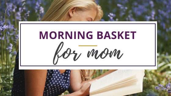 a woman reading a book outdoors from her morning basket for mom