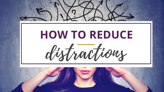 a woman with thoughts going everywhere trying to reduce distractions