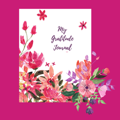 pink mini gratitude journal with flowers
