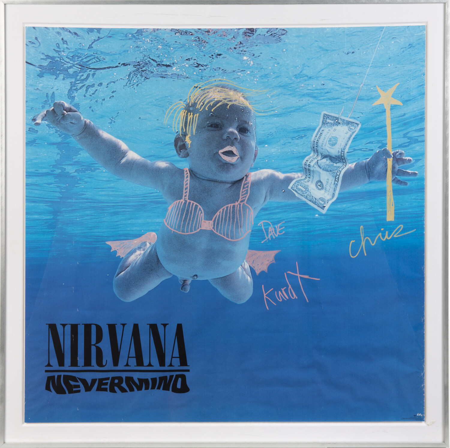 nirvana signed poster with drawings