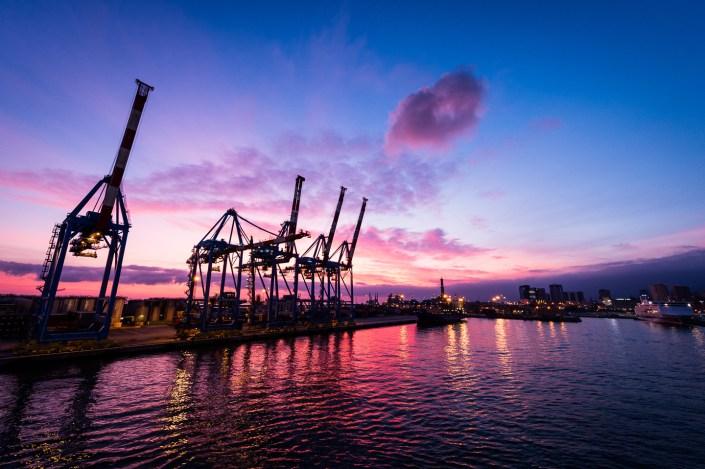 Sunset over Genoa port - Italy