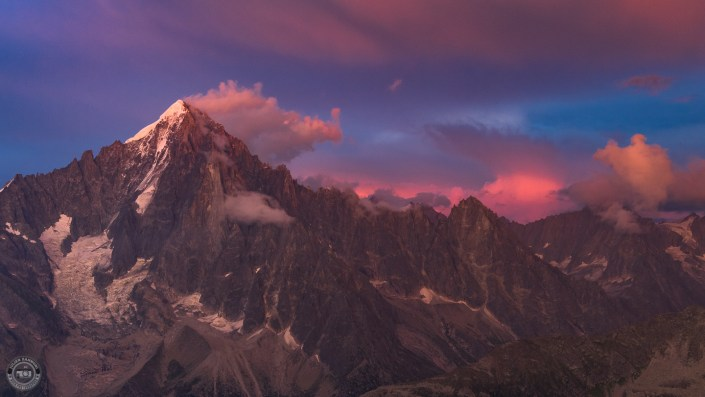 Summer sunset and storm over Chamonix Mont Blanc