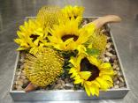 sunflowers and driftwood rustic