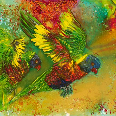 ©Julie Schofield, Rainbow Lorikeets Crazy for Grevilleas, Acryilic on Canvas, 61 x 122cm