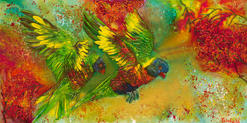 ©Julie Schofield, Rainbow Lorikeets Crazy for Grevilleas, Acrylic and Ink 61 x122cm
