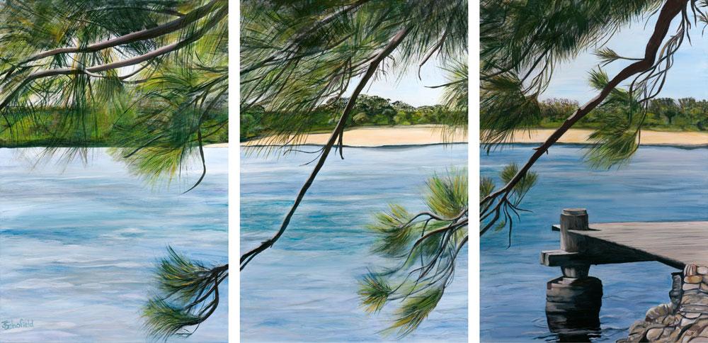 ©Julie Schofield, Casuarina Tranquility, Acrylic, Tryptich 3 x 90 x 60cm