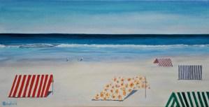 Julie Schofield,Moana Beach Shelters, Acrylic 51 x 102cm