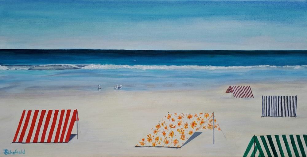 ©Julie Schofield, Moana Beach Shelters, Acrylic 51 x 102cm