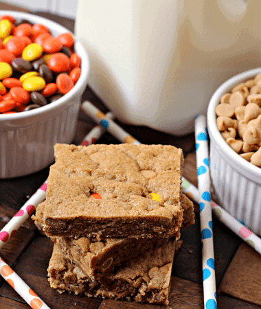 Monster Cookie Bars ~ Soft, chewy bars stuffed full of peanut butter chips and Reese's Pieces! via www.julieseatsandtreats.com