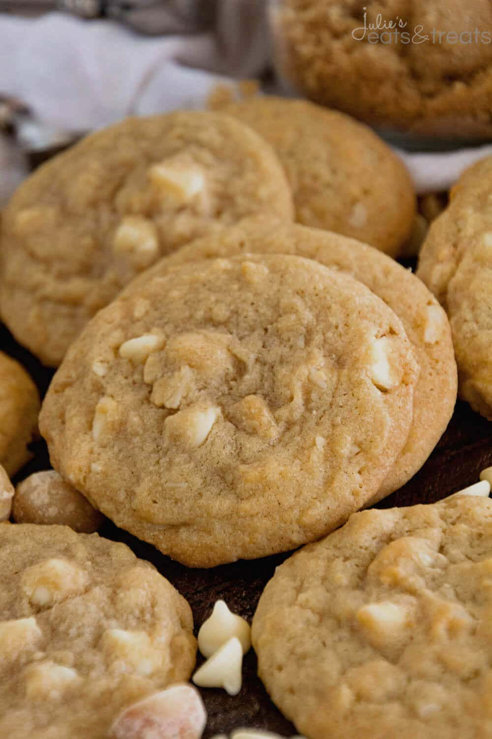 Close up of white chocolate macadamia nut cookie recipe baked