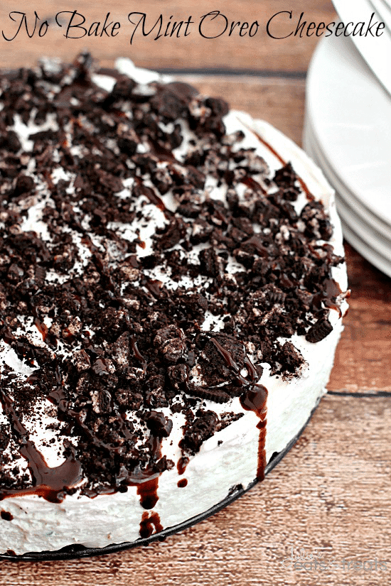 No-Bake Summer Desserts - Mint Oreo Cheesecake